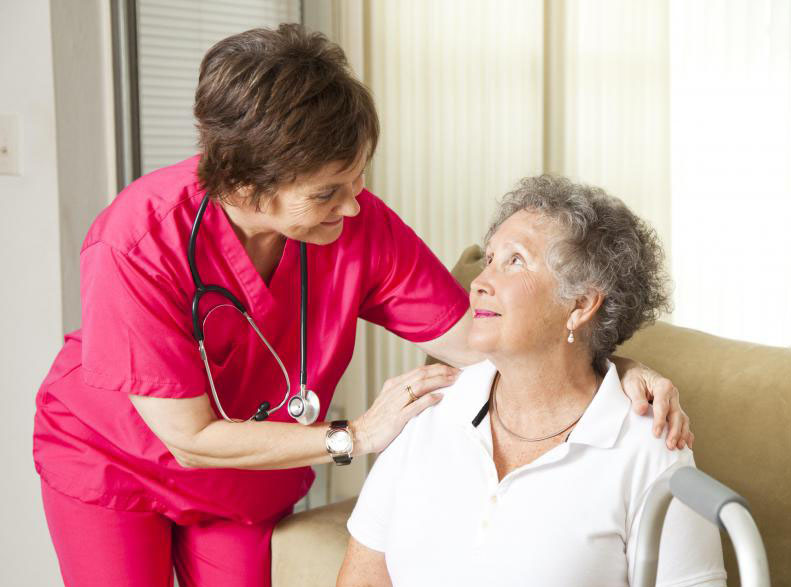 elderly woman with nurse for Toxplus SA